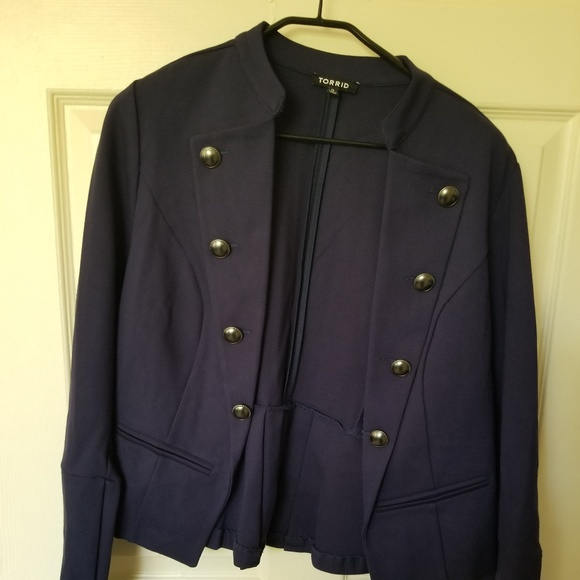 torrid Jackets & Blazers - Navy Military style open front jacket -knit